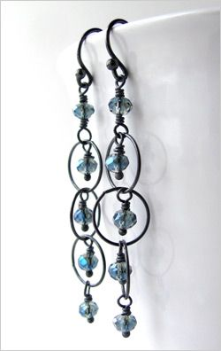 Midnight Blue Earrings with Oxidized Sterling Silver