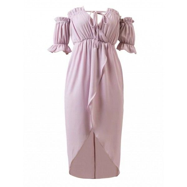 37fbce05d0ab Choies Light Purple Off Shoulder Wrap Asymmetric Hem Chiffon Dress (255  MAD) ❤ liked on Polyvore featuring dresses