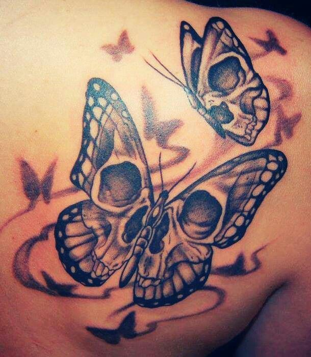 50 cool skull tattoos designs interesting tattoos pinterest rh pinterest com skull butterfly tattoo sketch skull butterfly tattoos women