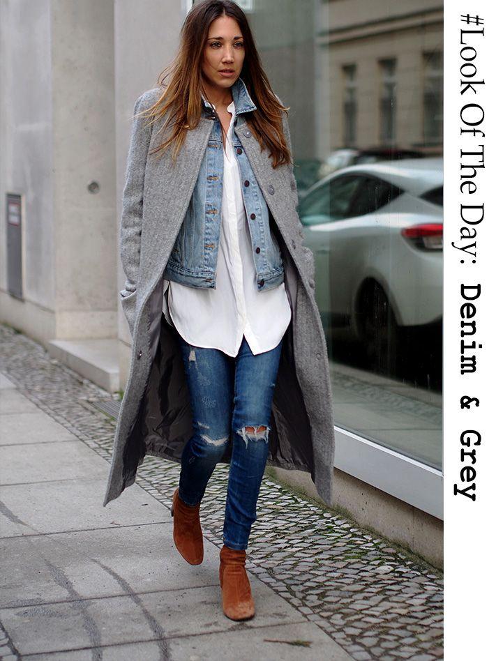 look of the day denim look long coat dondup contrast herring grey. Black Bedroom Furniture Sets. Home Design Ideas