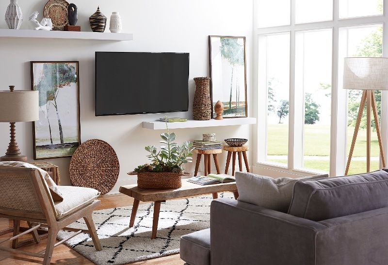 Tv In Room With Windows Living Room Decor Tv Brick Wall Interior Living Room Living Room Design Small Spaces