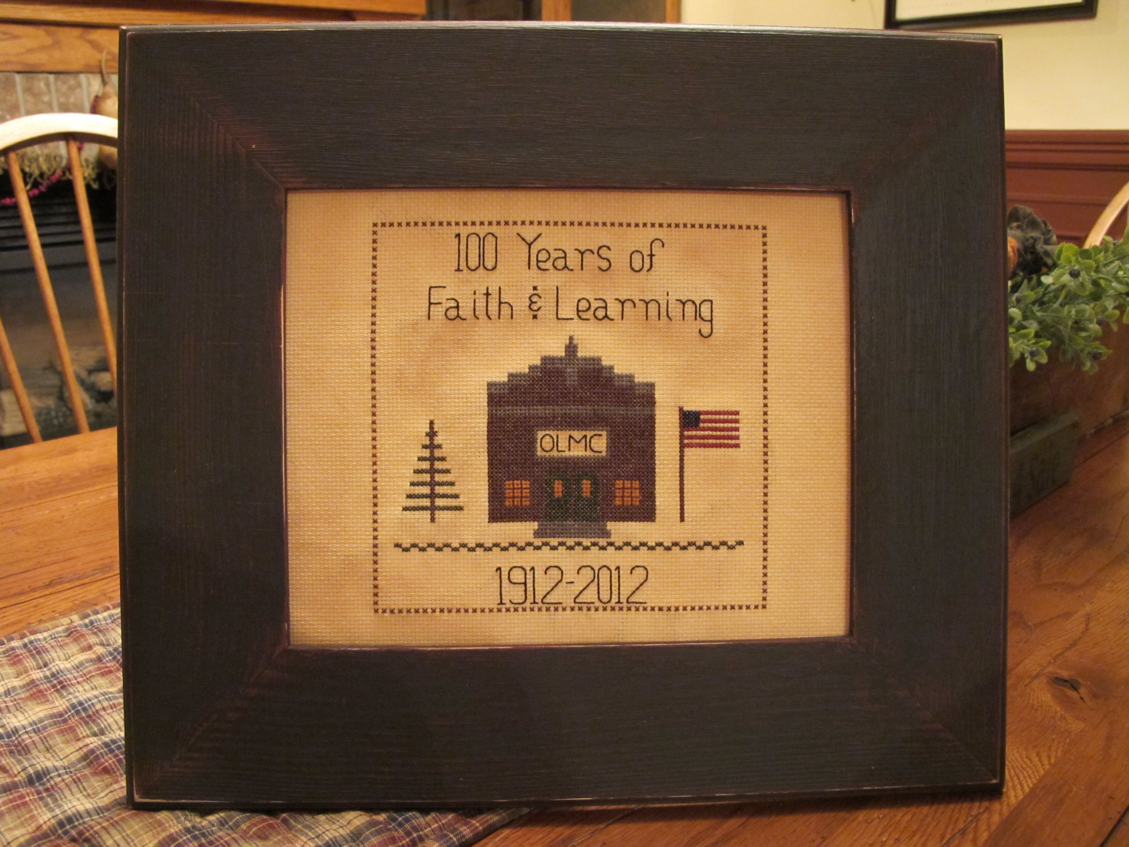 """100 Years of Faith & Learning""  Hand drawn and stitched by Yesterday Once More Primitives."
