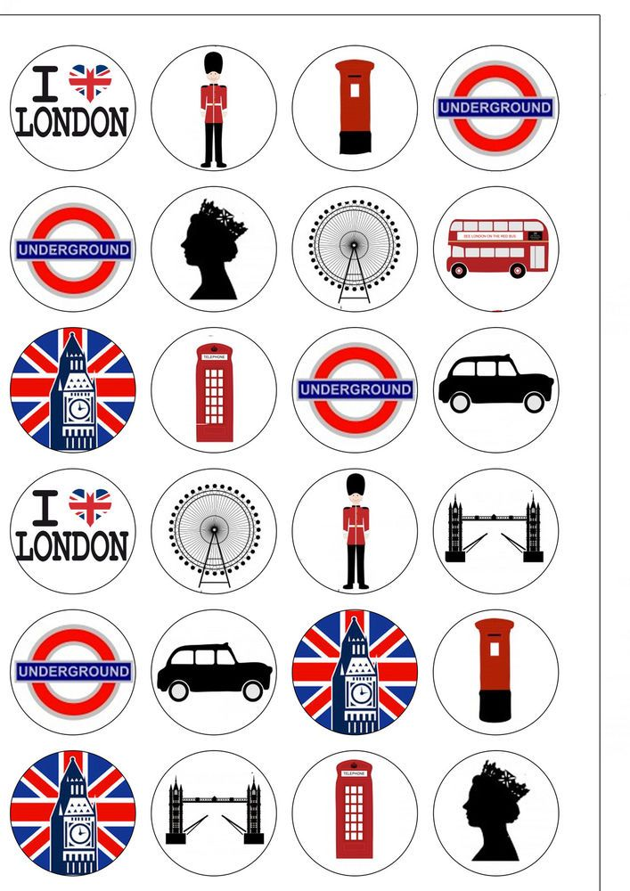24 Round PRECUT London City Themed Edible Wafer Paper Cupcake Cake Toppers