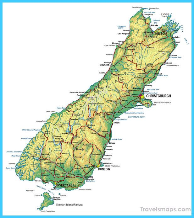 Map Of New Zealand Map Of New Zealand New Zealand South Island