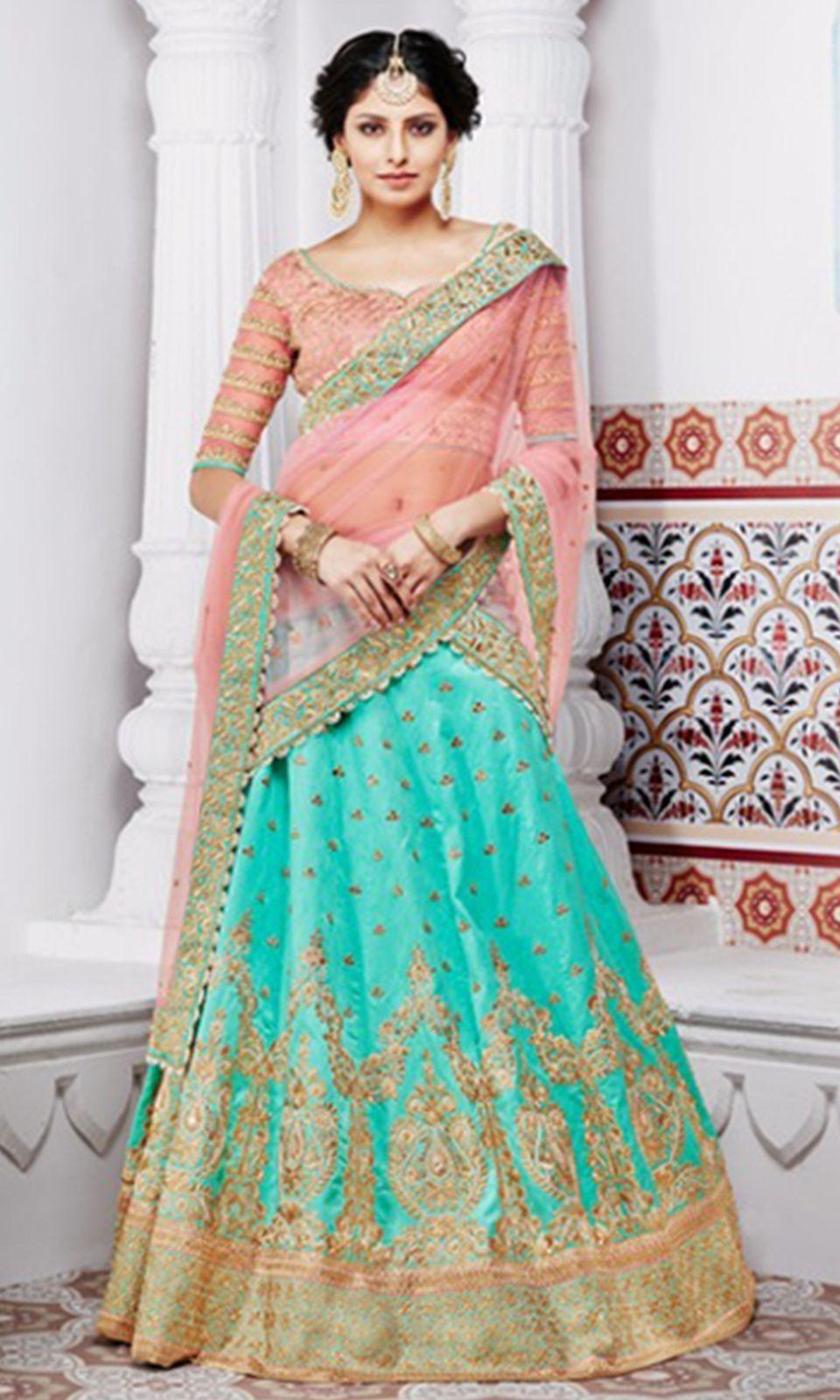 637933c731 Shop this stunning #Peach and #Green #Party Wear #Lehenga #Saree (SKU Code  : LEHNK5094) Online at IshiMaya Fashion.