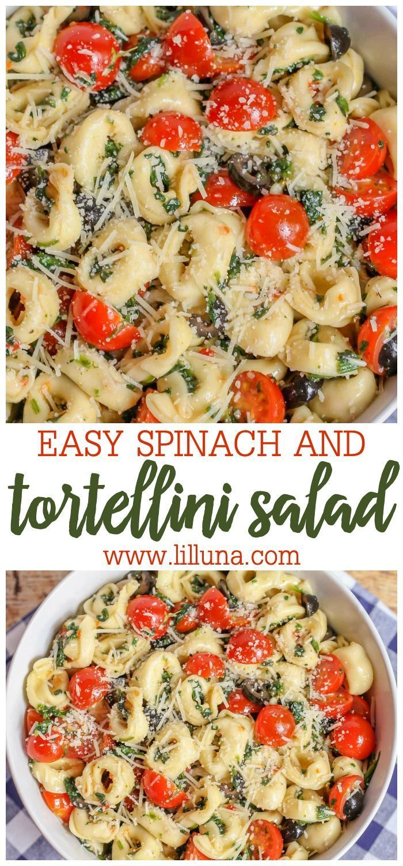 Easy Spinach Tortellini Salad Recipe   Lil' Luna #potluckrecipes