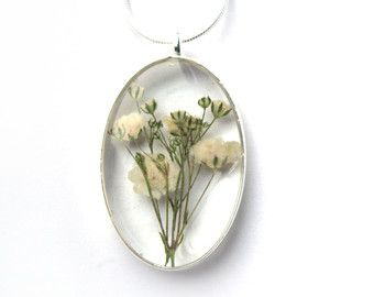Dried Flower Resin Pendant Necklace