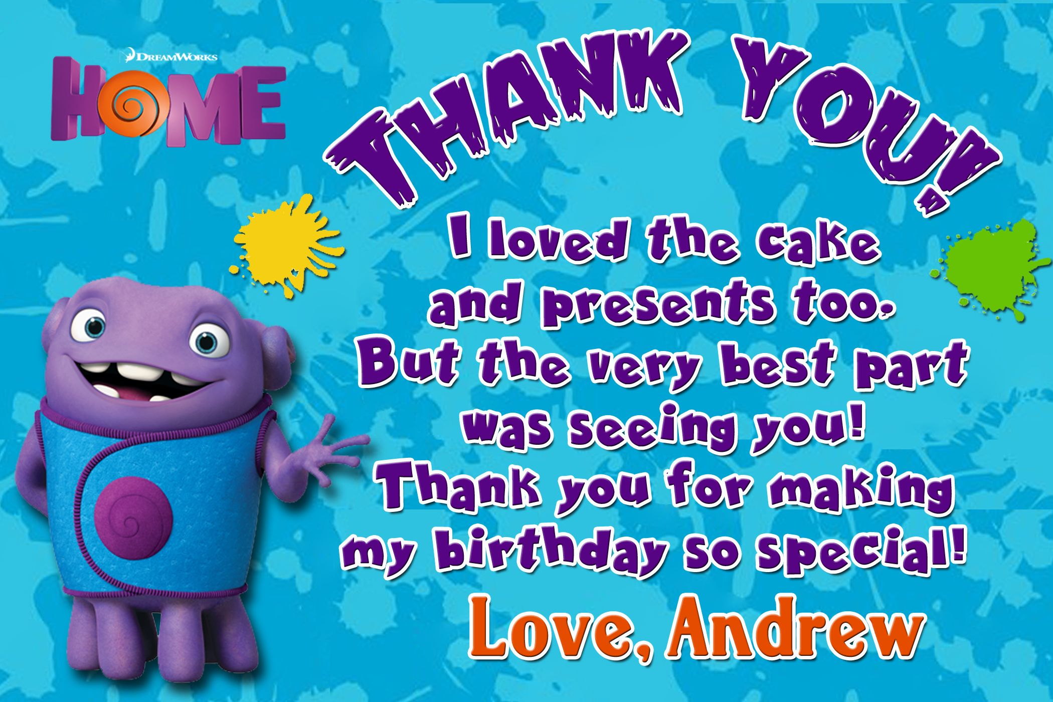Dreamworks Home Movie Birthday Thank You Card 399 Available At Partyexpressinvitations