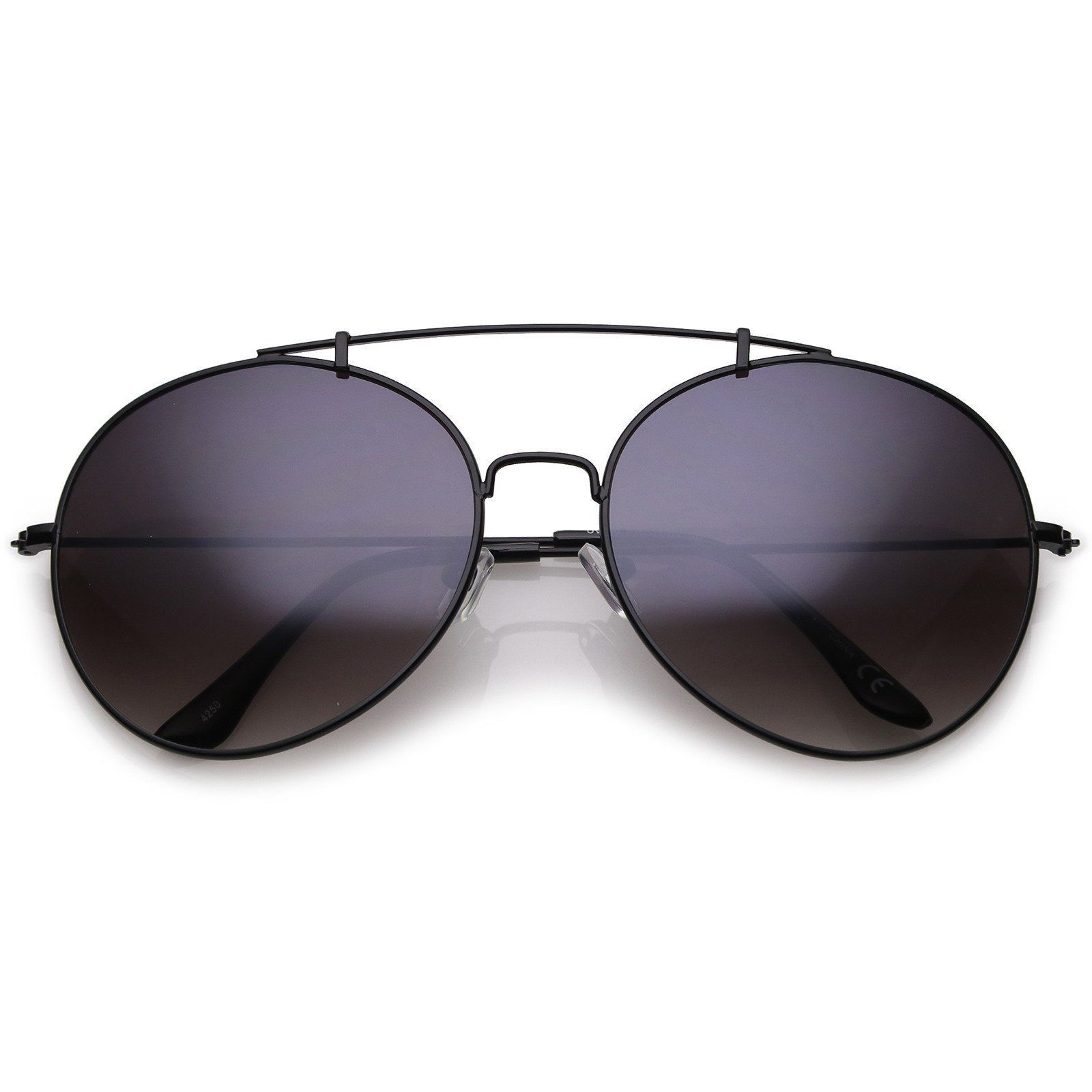 Classic Metal Aviator Sunglasses Crossbar Slim Arms Round Lens 65mm