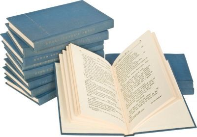 Set of 12 books from The Yale Shakespeare 40-volume set.  The blue color would be perfect for our red book shelves.