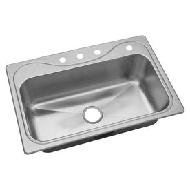 Sterling Southhaven 22-In X 33-In Luster Single-Basin Drop-In 4-Hole R
