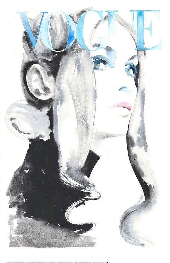Photo of Vogue Cover Art, Original Watercolor Fashion Illustration, Jean Shrimpton, Fashion Illustration 1969 Vogue, Cate Parr, fashion poster