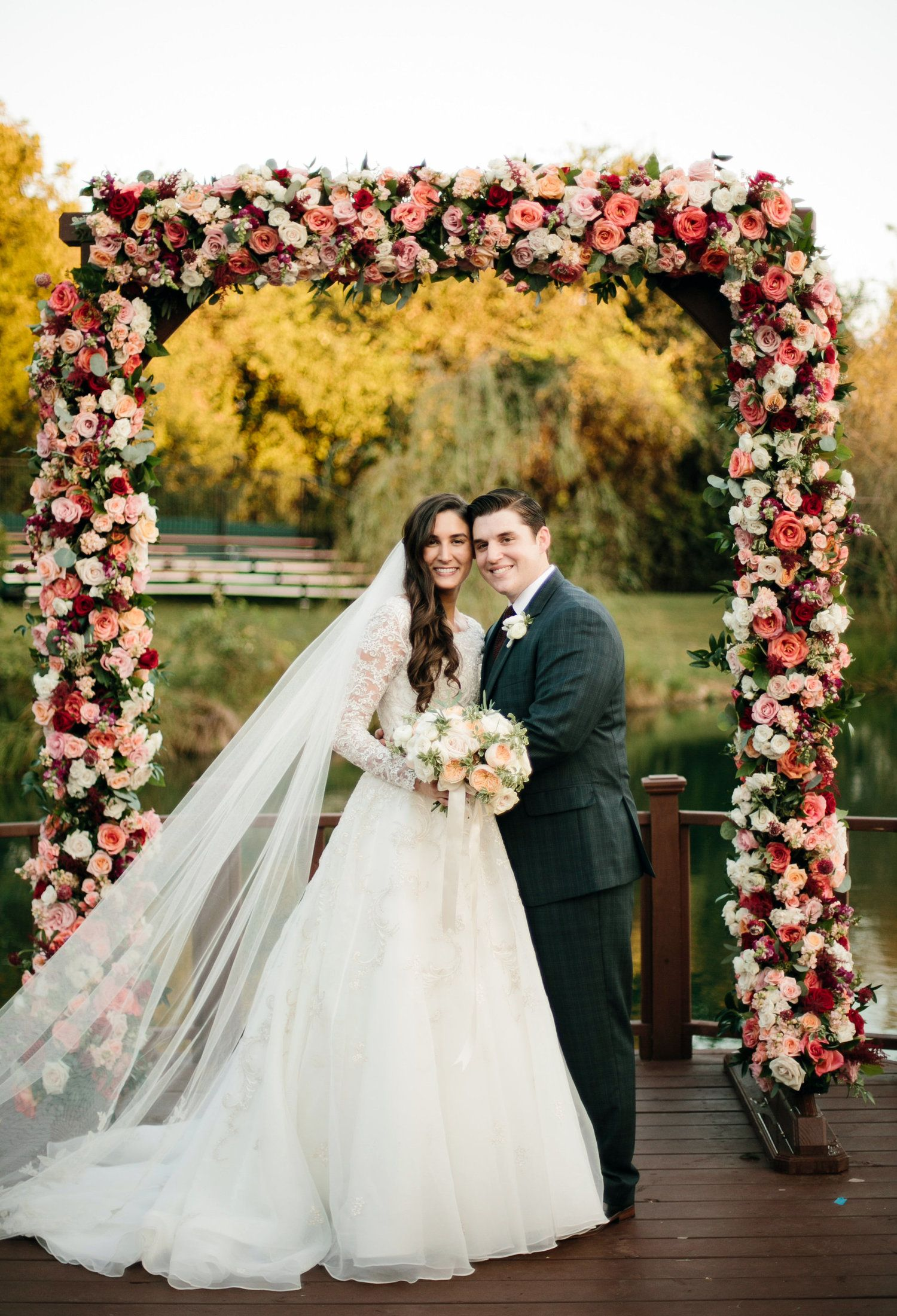 Romantic Floral Fall wedding. Floral Arch by Lush Couture