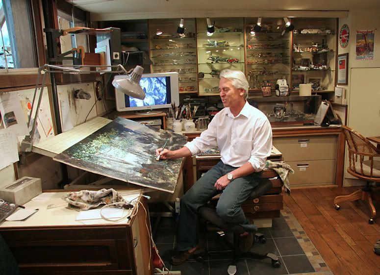 Basement Art Studio Jim Pretending To Paint On One He