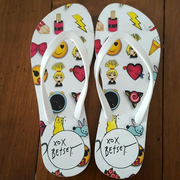 Betsey Johnson  Crazey flip flops NEW 6 Brand new no tags Size 6 Style Crazey Retail  $35 ?NO TRADES  ? NO LOWBALL OFFERS  ? NO NEGOTIATING OVER COMMENT, USE OFFER BUTTON Betsey Johnson Shoes Sandals