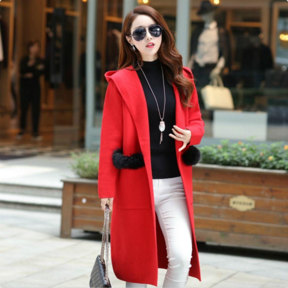 Hooded Sweater Coat New Autumn Women Cardigan Fur Large pocket ...