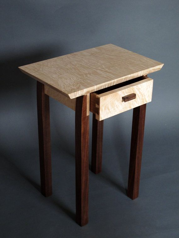 modern accent tables. Bed Side Table With Drawer, Small Side/ End Tables, Midcentury Modern Furniture- Handmade Custom Wood Tiger Maple Walnut On Etsy, $650.00 Accent Tables L