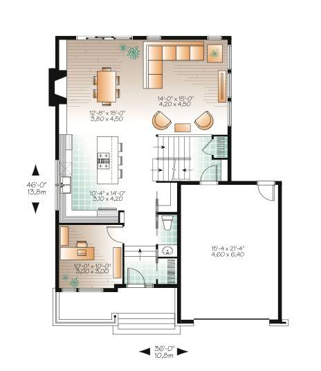 Modern Style House Plan 3 Beds 2 5 Baths 1784 Sq Ft Plan 23 2236 House Plans Modern Style House Plans New House Plans