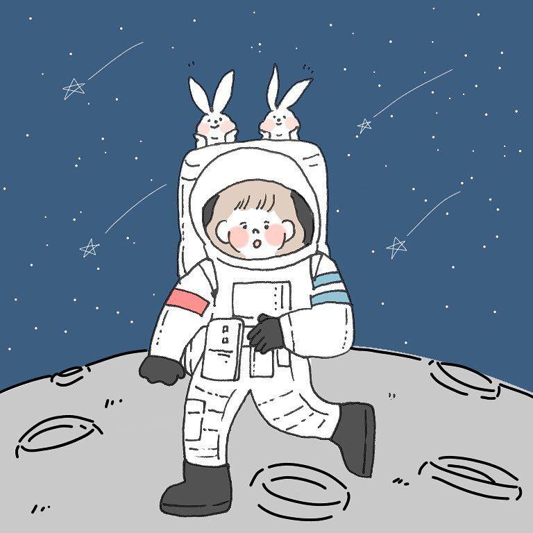 Chaco On Instagram 宇宙飛行士 月面着陸 Withうさぴょんず Dearさんからのお題でした イラスト Illustration Illustrator L4l いいね返し ゆる絵 Instagood イラストレーショ かわいい絵 Caho イラスト イラスト