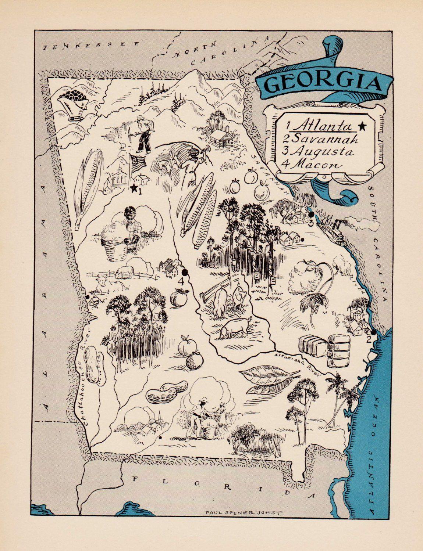 Savannah GA  Map style Print vintage style art georgia tybee island georgia
