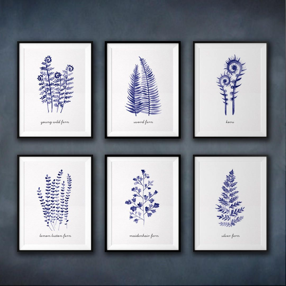 This set of 6 blue fern print will make an elegant collection for your living room. They are a reproduction of my original watercolor paintings. I like minimal style painting, clean, simple and graceful. You are welcome to choose any 6 prints from the fern art series, just leave a note in