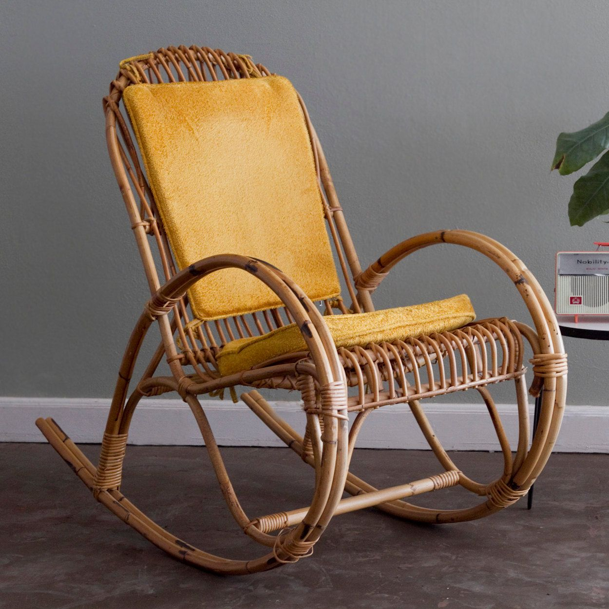 Etsy Vintage Bamboo Furniture: SALE: Franco Albini Whicker Rattan Rocking Chair With