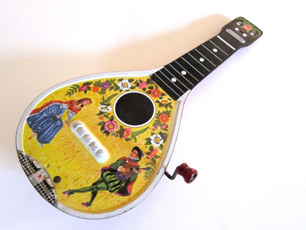 Vintage Musical Toys : Vintage s mattel mandolin guitar tin musical toy