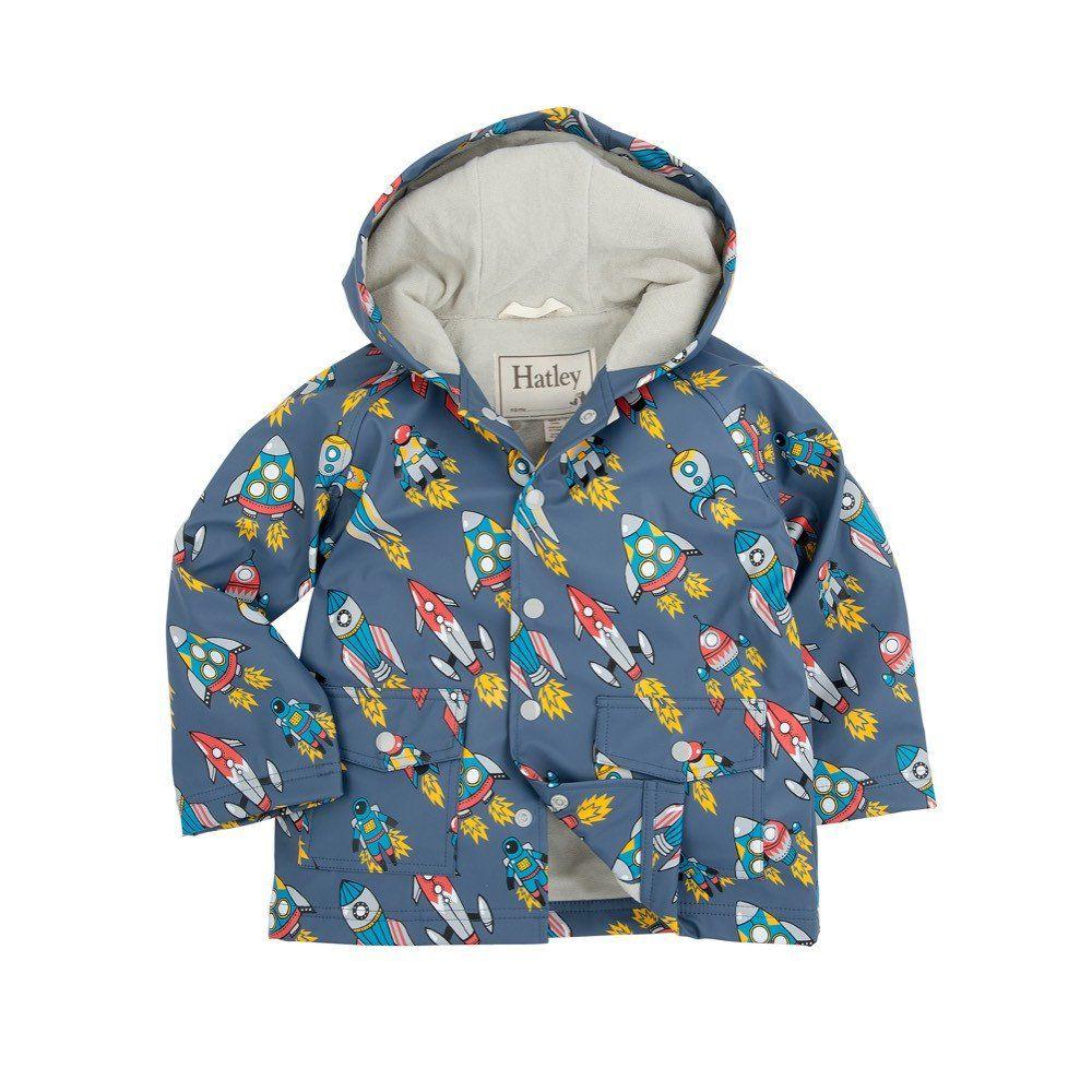 Hatley Retro Rockets Raincoat Kids Outfits Online Kids Clothes Boy Outerwear
