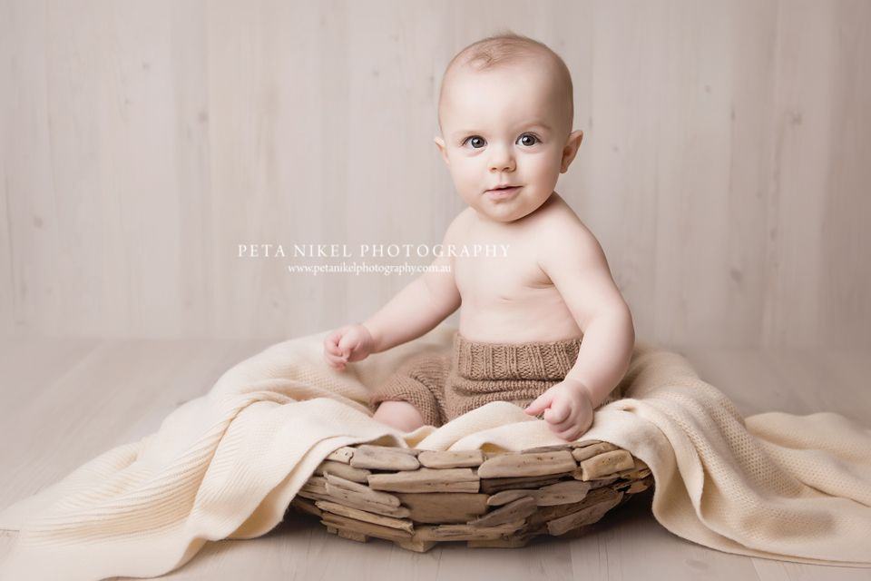 month old baby photoshoot in studio cute boy portrait driftwood bowl knitted pants also rh pinterest