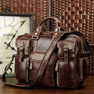 Image of Rare Crazy Horse Leather Men's Briefcase Laptop Bag Dispatch Shoulder Huge Duffle in Red Wine