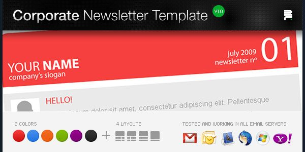 Corporate Newsletter Template V1- 137 best email tempates Web