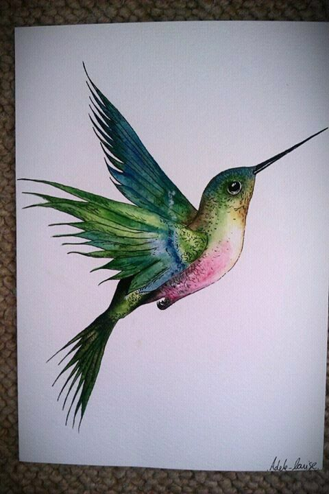 hummingbird painted by me in watercolor paints :) | Art ...