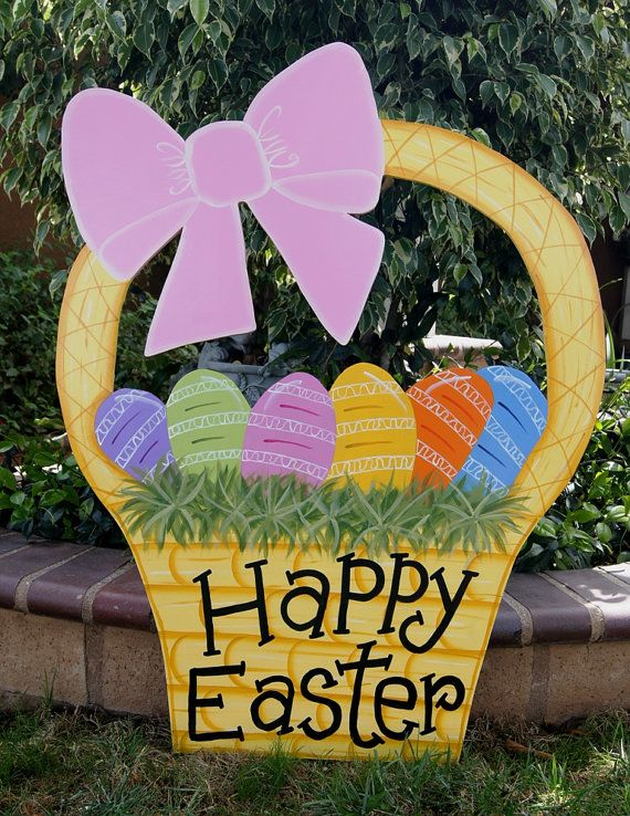 Easter Basket Yard Art Easter Outdoor Wood Decoration Easter Lawn Sign On Etsy 75 00 Easter Decorations Outdoor Easter Yard Decorations Easter Outdoor