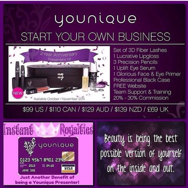 Get all this when you become a Presenter with Younique! There is no sales quotas, no auto ships, no website fees & you get paid daily selling 3D mascara on social media! www.bigamazinglashes.com