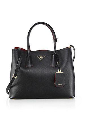 1217286dd Prada Saffiano Cuir Medium Double Bag Caramello - Caramel Nero -Black