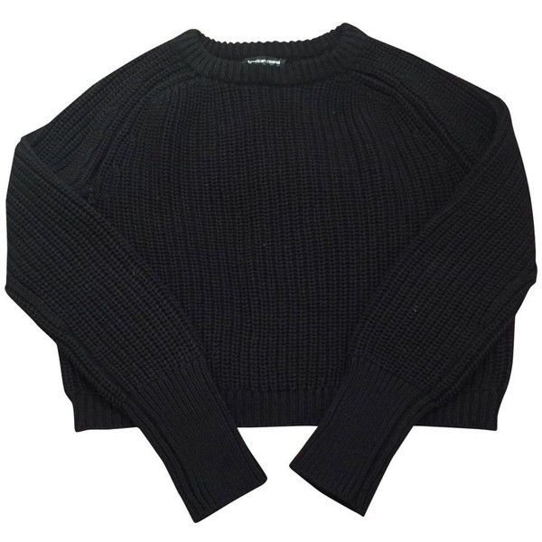 Black Cotton Knitwear AMERICAN APPAREL ($38) ❤ liked on Polyvore featuring tops, sweaters, crewnecks, jumpers, cotton jumpers, crewneck sweaters, knitwear sweater, crew neck jumper and cotton crew neck sweater