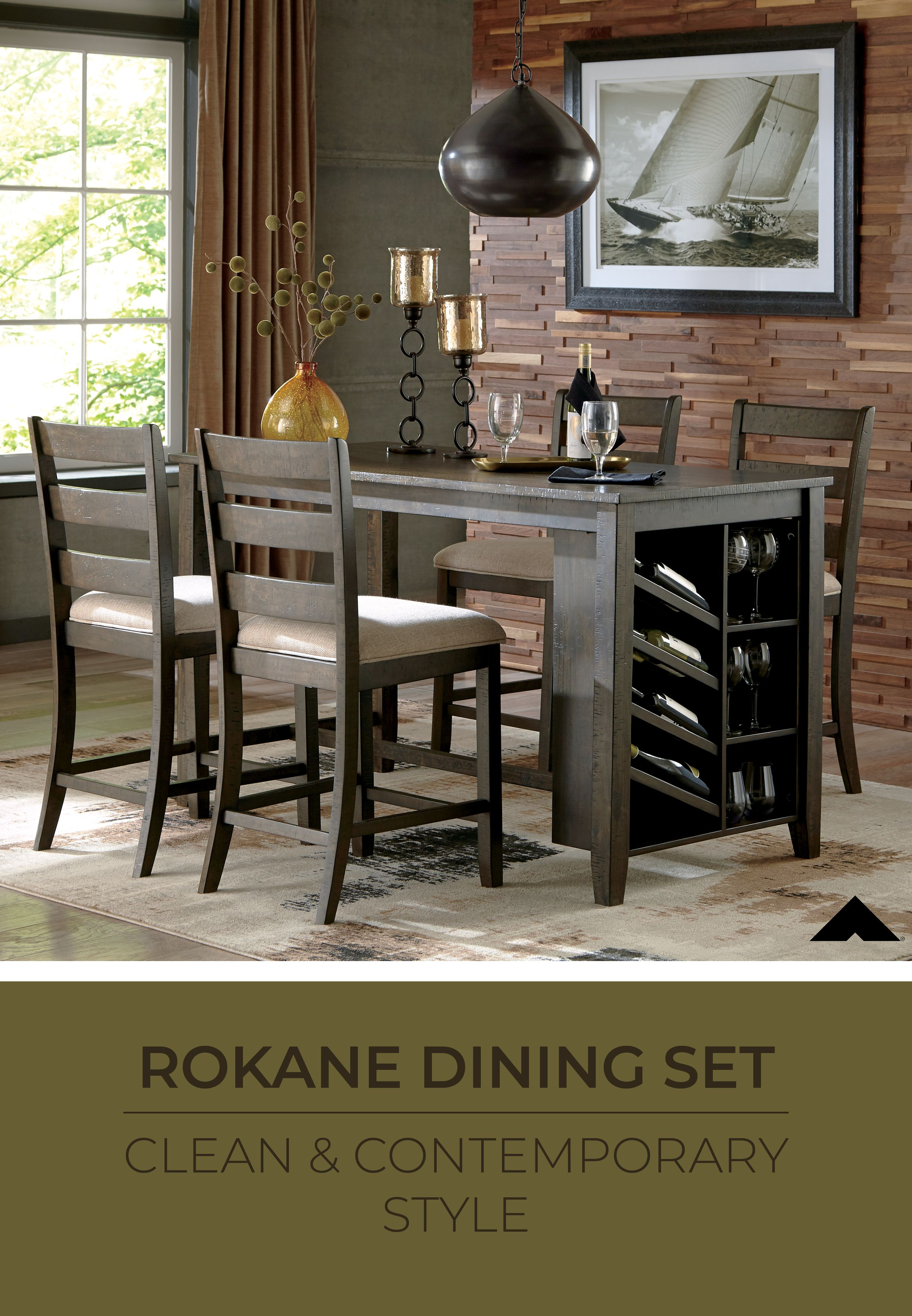 Rokane Light Brown Rectangular Counter Table With Storage By