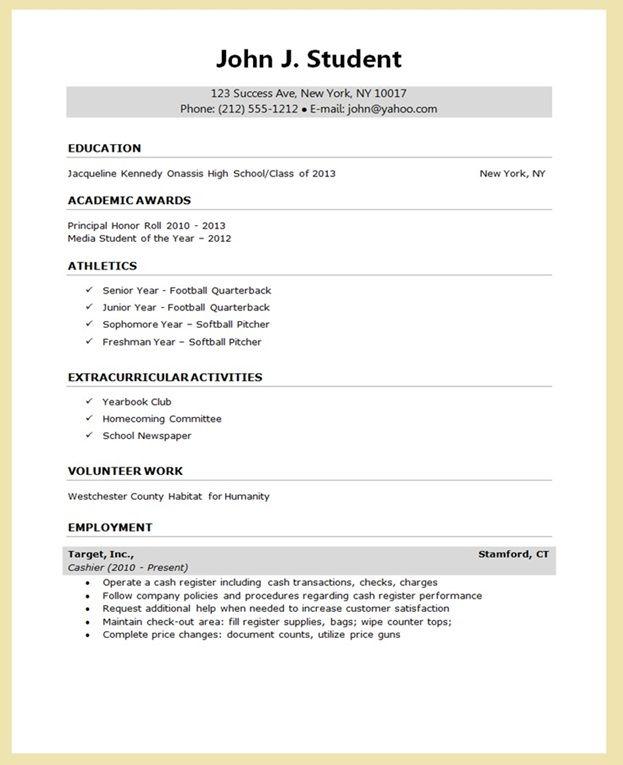 Sample Resume for College Application | Creative Resume Design ...