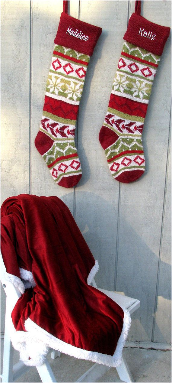 Personalized Knitted Christmas Stockings Green White Red Intarsia