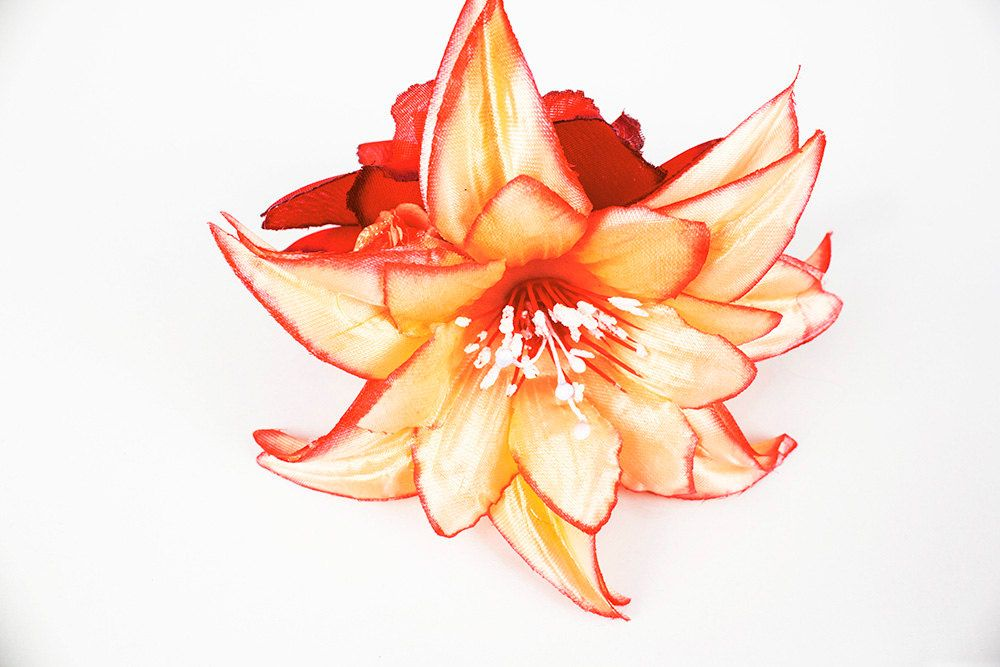 """4 3//4/"""" Pink Water Lily Silk Flower Hair Clip,Bridal,Dance.Prom,Party,Accessory"""