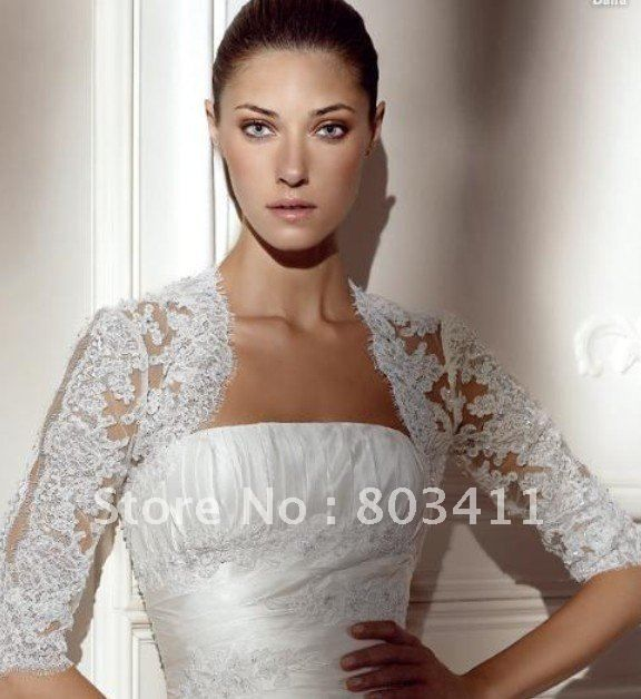 Freeshipping Custom Made Best Selling Elegant Lace Bridal Bolero ...