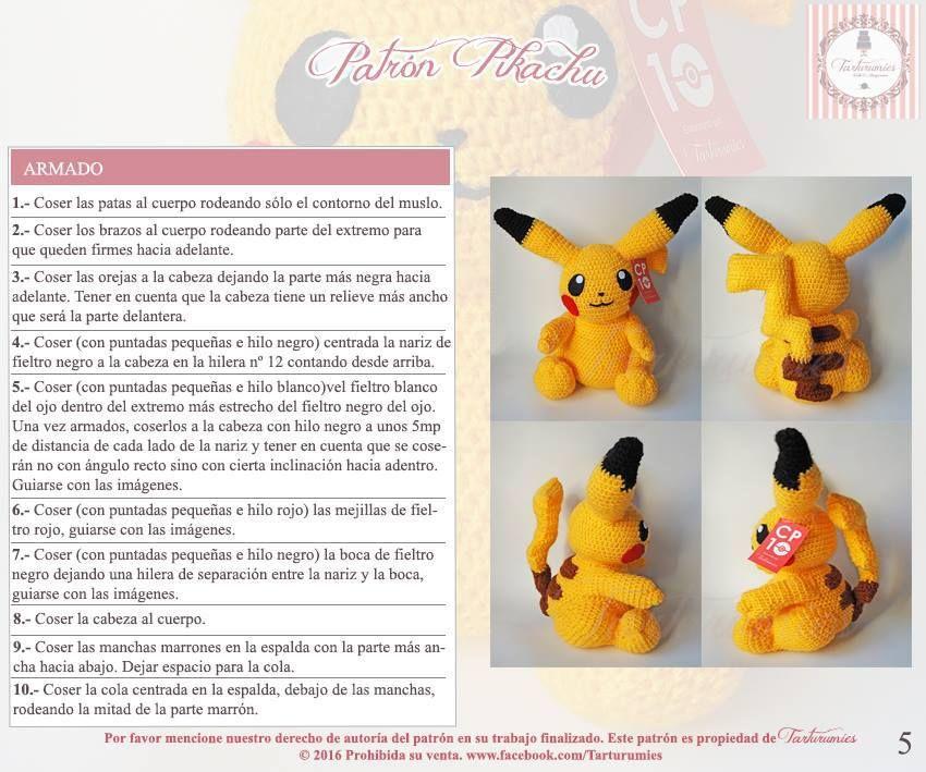 Patrón amigurumi de Pikachu | Amigurumi