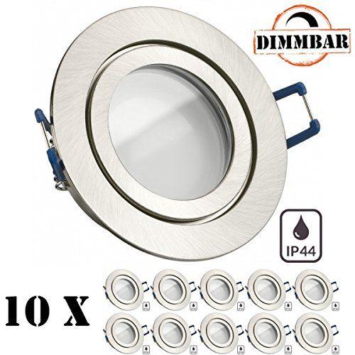 IP44 LED Einbaustrahler Set Silber Gebürstet Mit LED GU10 Markenstrahler  Von LEDANDO   5W DIMMBAR