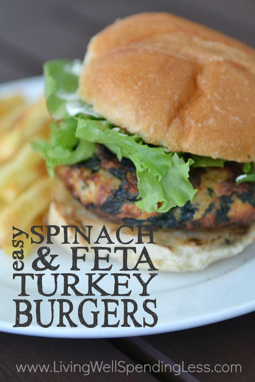 Easy Freezer Spinach Feta Turkey Burgers