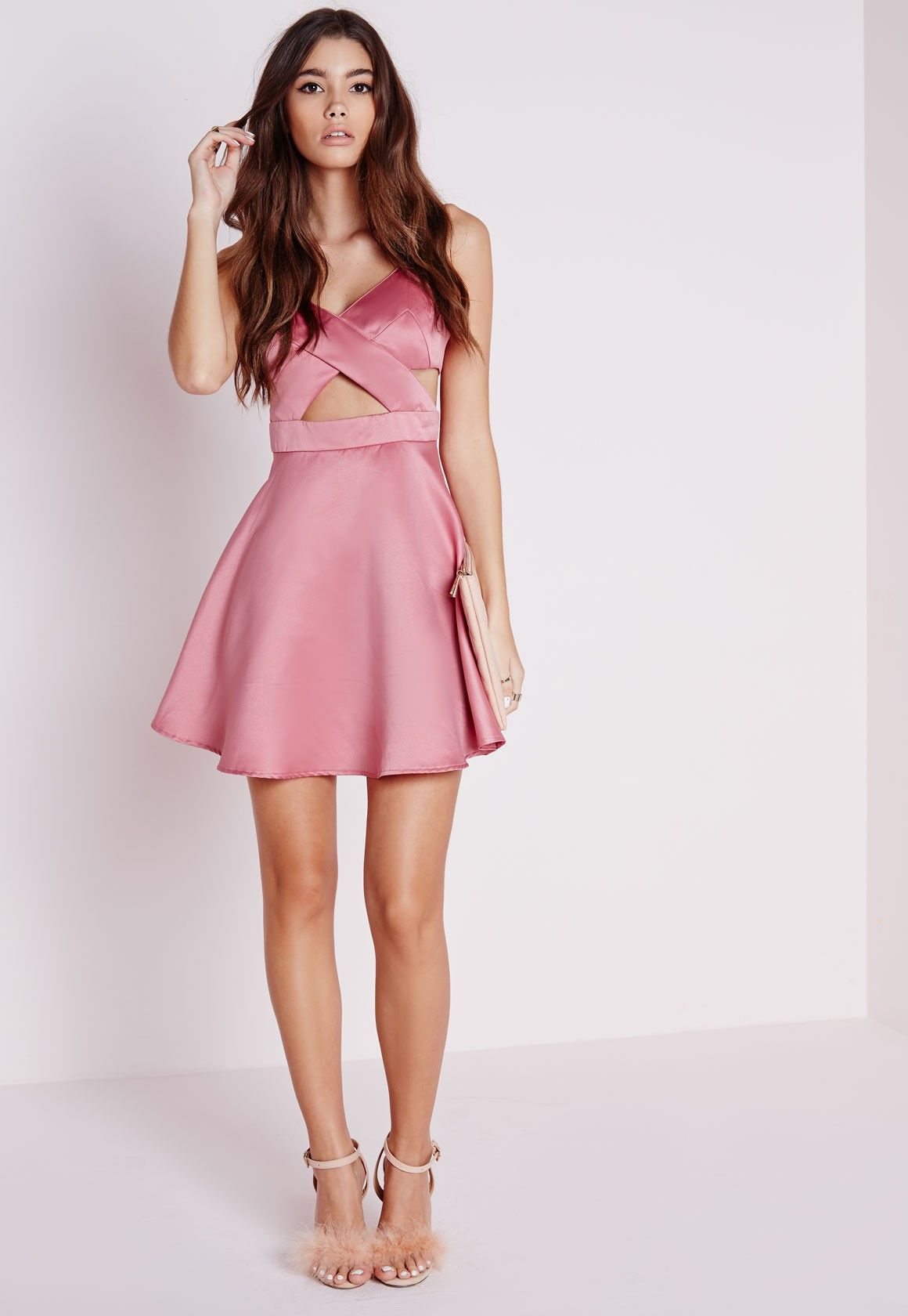 c4cde28d4a Missguided - Satin Cut Out Skater Dress Dusky Pink
