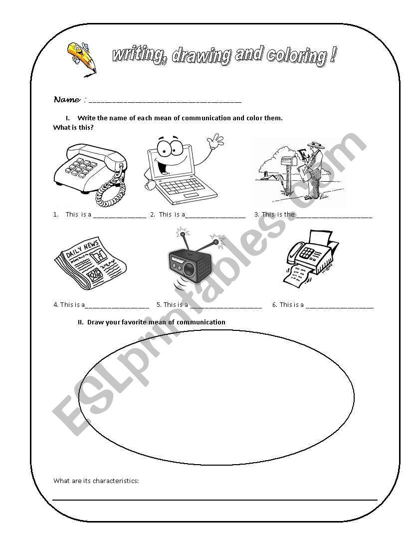 Means Of Communication Worksheet Means Of Communication Sight Words Printables Communication [ 1086 x 838 Pixel ]