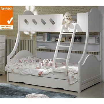 Best Cloudy Trio Bunk Bed With Single Trundle White Bunk 400 x 300