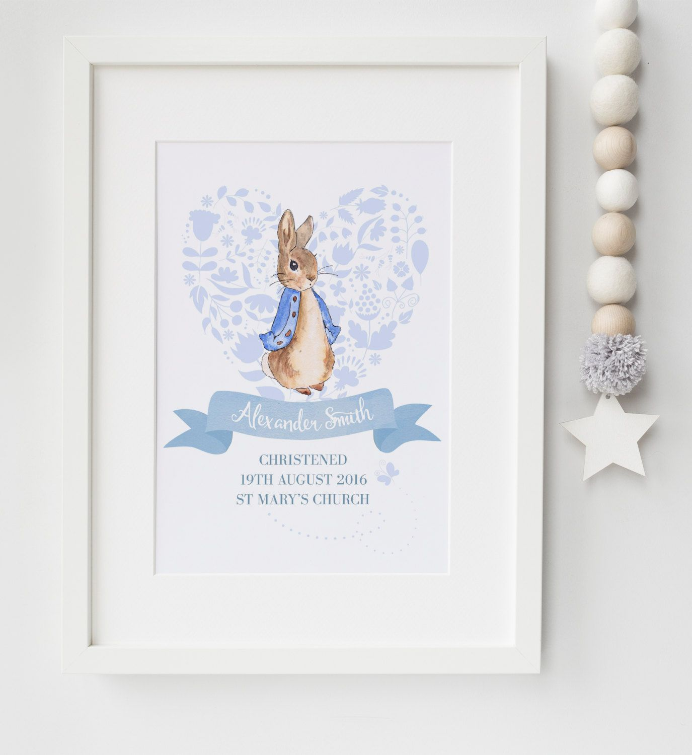 Christening Gifts Birth Stats Personalised Peter Rabbit Picture For New Baby