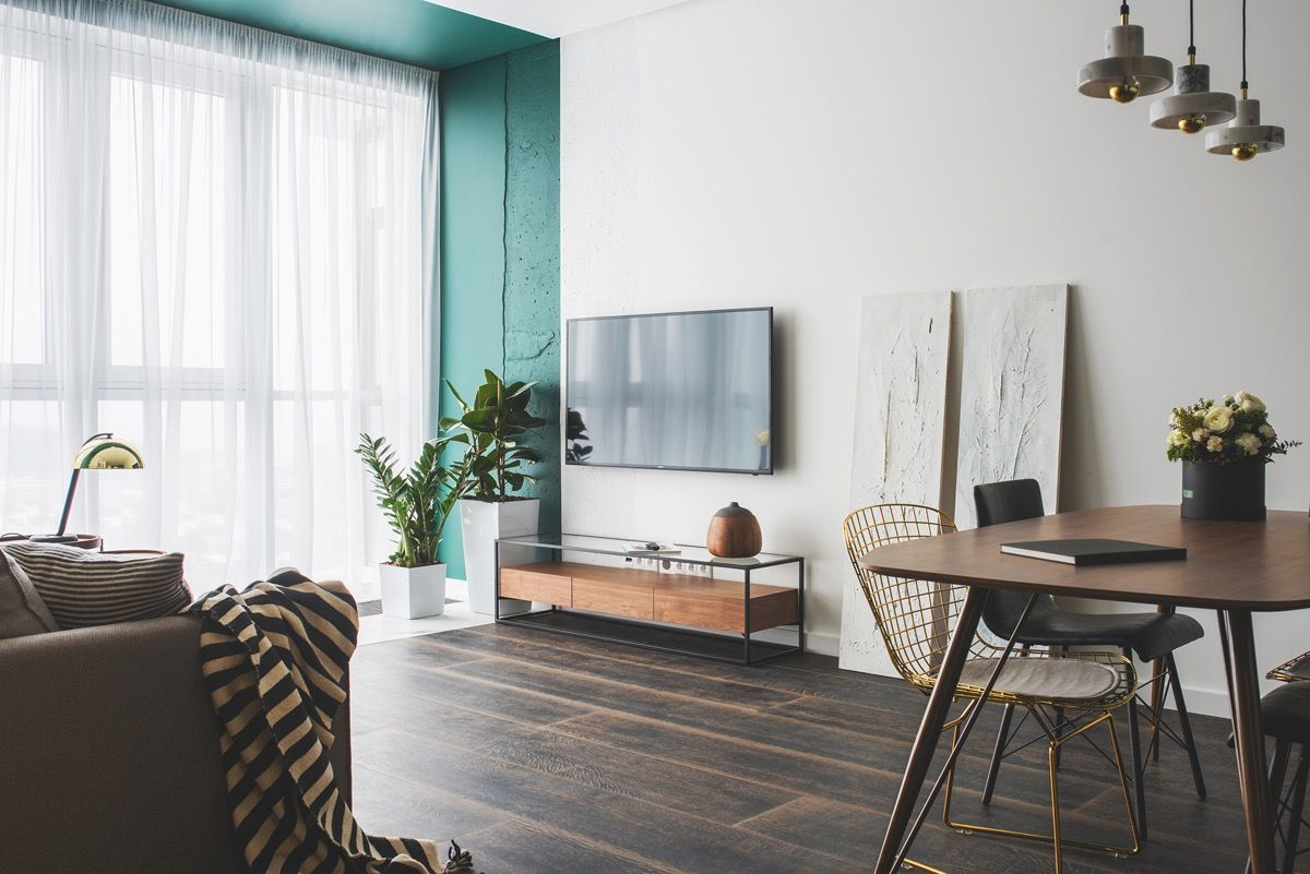 Green and Gold Interior With Modern Eclectic