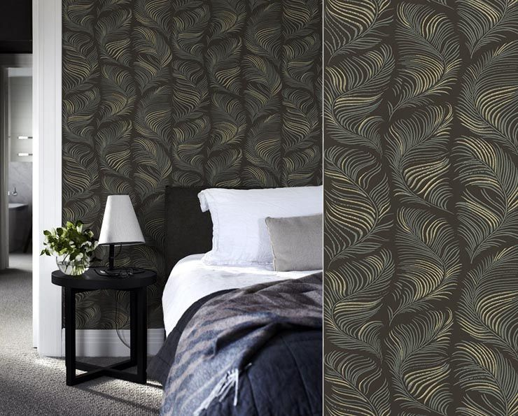 plumes de paon art d co papier peint grace de sandberg. Black Bedroom Furniture Sets. Home Design Ideas